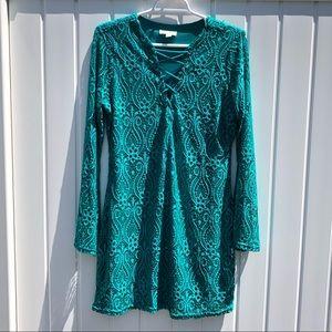 Ultra Flirt Lace Crochet Tie Up Front Dress